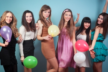 A group of beautiful girls at the party Stock Photo