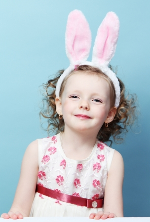 funny girl with rabbit ears  Stock Photo