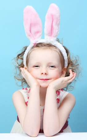 funny girl with rabbit ears photo