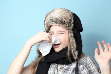 frozen girl in the hat. Stock Photo