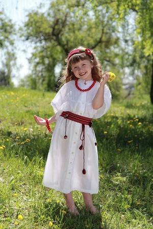 national costume: Little girl in the Ukrainian national costume