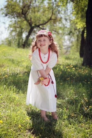 national costume: Little girl in the Ukrainian national costume.