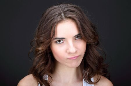 Young angry woman. Stock Photo
