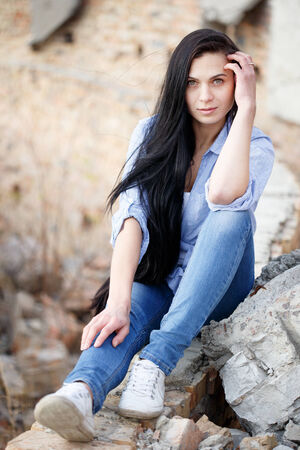 Beautiful young girl  outdoor.
