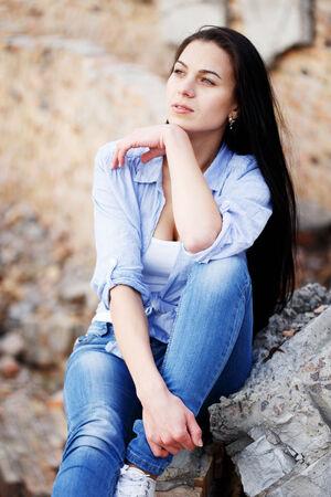 Beautiful young girl outdoor. Stock Photo