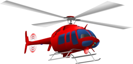 vector - red helicopter flying up