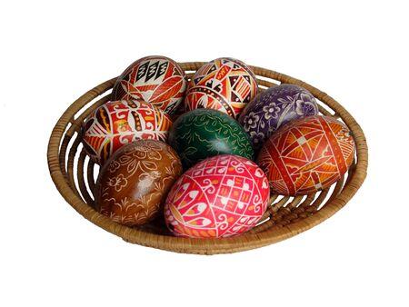 religious habit: Easter basket of coloured eggs