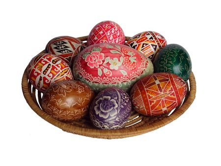religious habit: Easter basket of coloured eggs with big egg Stock Photo