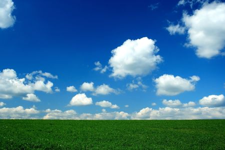 horizon , green field, blue sky and white clouds