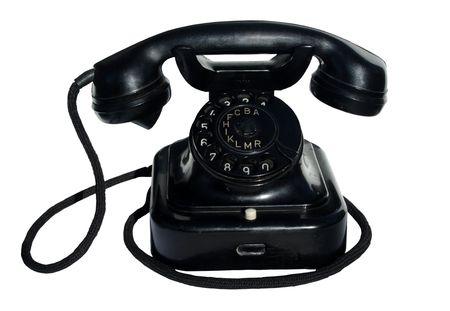 zwarte telefoon op witte achtergrond
