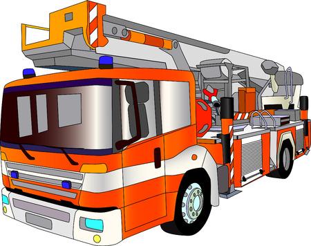 fire engine: vettore - Lader fuoco motore isolati a sfondo