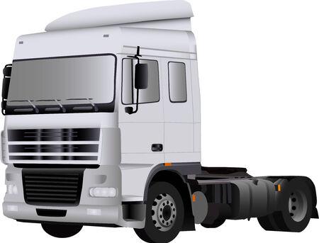 semi trailer: vector - big white empty truck