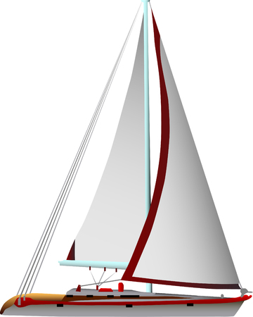 boat motor: vector - sailing boat isolated on the white background