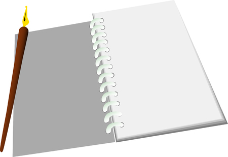 vector illustration - Open notebook with pen Vector