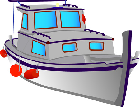 vector - small fishing boat isolated on the white background