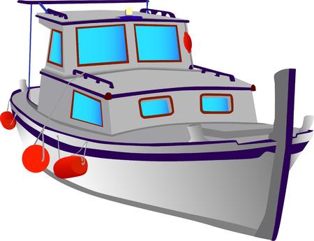 vecteur - petit bateau pêche isolé sur le fond blanc