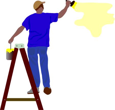 vector - werknemer schilderij een muur op dubbele ladder