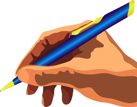 auteur: vector hand met blauwe pen Stock Illustratie