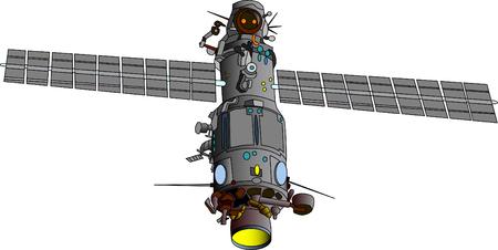 satellite launch: vector  illustration of satellite - orbital base
