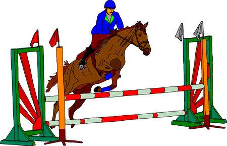salto de valla: vector - caballo con jinete saltando sobre fondo blanco