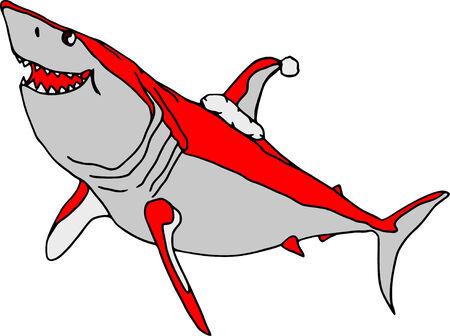 vector  - Santa shark  isolated on white background