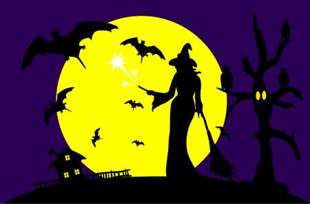 Vector - Halloween met volle maan en de heks
