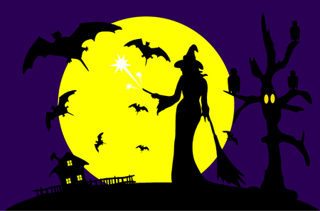 monsters house: Vector -  Halloween with full moon and witch