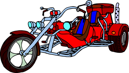 vector - three wheels  motorcycle isolated on white background Vector