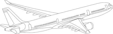 vector - contour vliegtuigen geïsoleerd op witte achtergrond Stock Illustratie