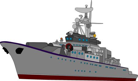 Bataille de vecteur navire isolé sur fond blanc