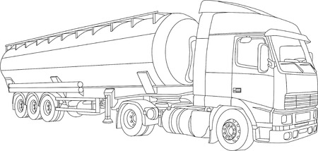 vector - contour truck-tanker  isolated on white background Illustration