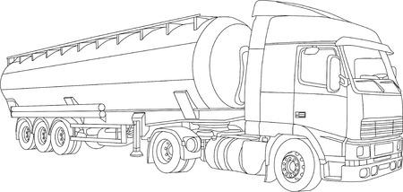 vector - contour vrachtwagen-tanker geïsoleerd op witte achtergrond Vector Illustratie