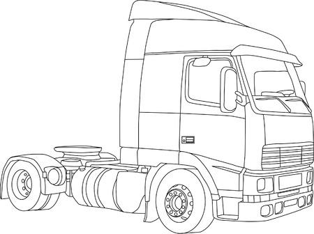 remolques: vector - el contorno de camiones aislados sobre fondo blanco Vectores