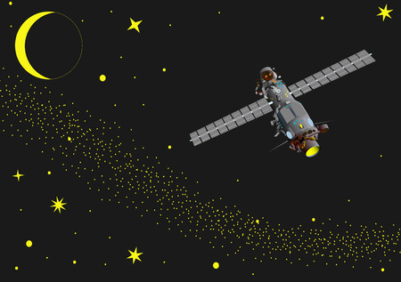 vector -  illustration of satellite at  space Vector