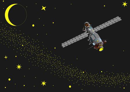 vector -  illustration of satellite at  space 矢量图像