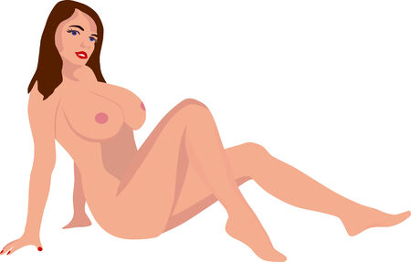 adult nude: vector - sexy girl isolatet on background Illustration