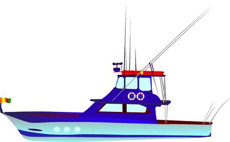 vector - kleur vissersboot geïsoleerd op witte achtergrond