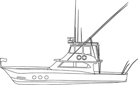 bateau de peche: Vector - bateau de p�che contour isol� sur fond blanc Illustration