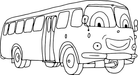 vector - smiling bus isolated on background