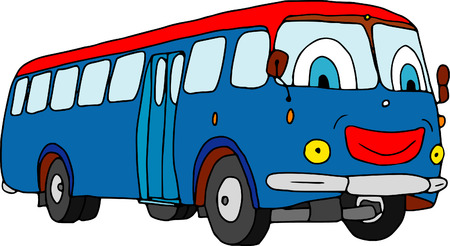 vector - smiling bus  isolated on background Illustration
