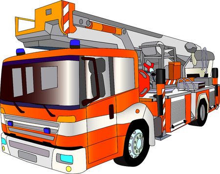 departments: vector - fire engine lader isolated on background
