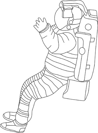 spacesuit: vector - contour spaceman isolated on white background Illustration