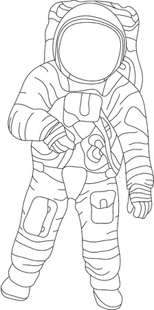 vector - contour spaceman isolated on white background 矢量图像