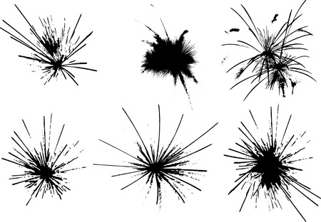 fire vector: vector - set of fireworks explosions Illustration