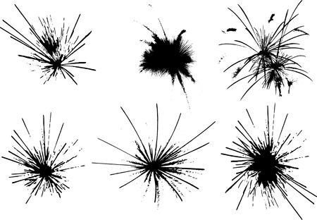 vector - set of fireworks explosions Illustration