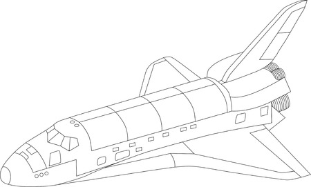 vector space shuttle isolated on white background