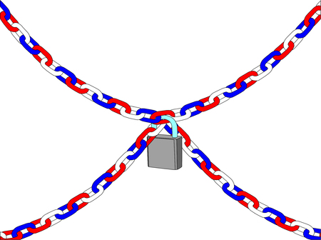 vector - chain with padlock isolated on white background Vector