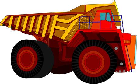 teherautók: vector - big red truck isolated on white background