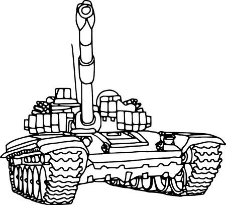 battle tank: vector - contour tank  isolated on white background Illustration