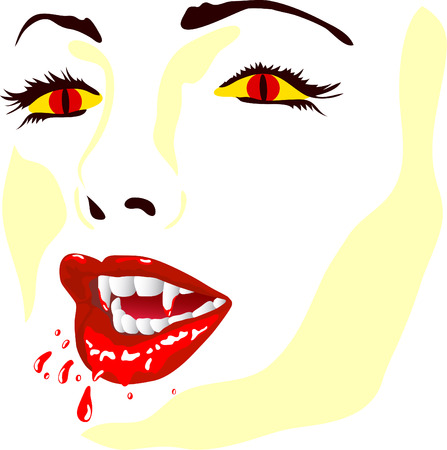 sexy halloween girl: vector - vamp face isolated on background